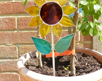 Sunflower garden stake made from stained glass - made to order