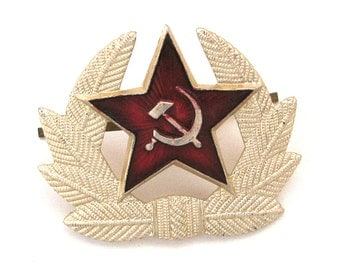USSR Military Star Cockade, Hat badge, Hammer and Sickle, Vintage metal collectible badge, Soviet Vintage Pin, Made in USSR