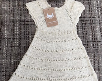 Fresh and soft cotton dress hand knitted for girls