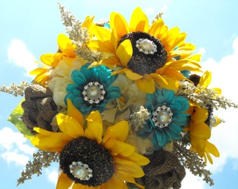 Sunflower and Burlap bouquet with Turqouis  pearl and rhinestone accents