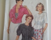 Button down shirt / 90s jacket / fitted jacket blouse / 90s sewing pattern, Bust 30 31 32 34 36 38, Size 6 8 10 12 14 16, New Look 6697