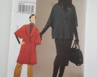 Plus size jacket /skirt /pants / Womens /shawl collar / suit/ 2009 sewing pattern, Bust 38 40 42 44 46, Size 16 18 20 22 24, Vogue V 8605