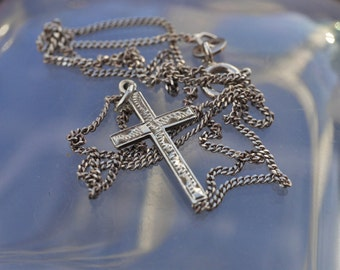 Vintage Small Fine Silver Cross on Silver Chain