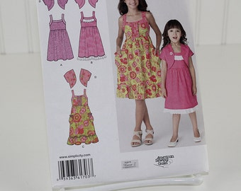 Child's and Girl's Dress in 2 Lengths and Bolero, UNCUT Sewing Pattern, Simplicity 1703 - Size 7-14