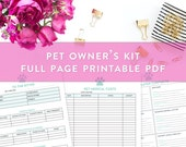 Pet Printable Kits, Pet Information Sheet, Note to the Pet Sitter, Vaccination Log, Pet Medical Information Sheets, Important Pet Contacts