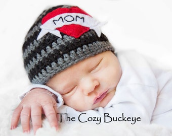 I Heart Mom Hat with Felt Applique, Baby Hat, Baby Beanie, Crochet Baby Hat, Tattoo Mom Hat