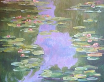 Monet's Water Lilly Pond, Giverny, France, Painting Print