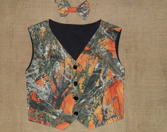2 pc Boys and Men vest & bow tie set.  for matching weddings. Shown in photo #17 TT Mc2 orange-cotton in fabric selection.  22 camo colors
