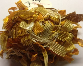 Trendsetter Joy multi texture ribbon DK weight yarn (1341 Gold, Tan, Brown)