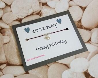 18th Birthday bracelet- birthday bracelet - Friendship bracelet - birthday anklet - birthday card - card for friend - BFF - Bestie