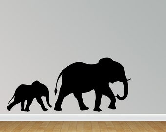 Elephant Wall Decal Elephant Wall Sticker with Baby Sticker Wall Decal (J712)