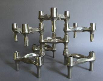 BMF stackable Quist Variomaster brutalist 7 x candleholder 1960s / 1970s  Germany.   By Ceasar Stoffi and Fritz Nagel.