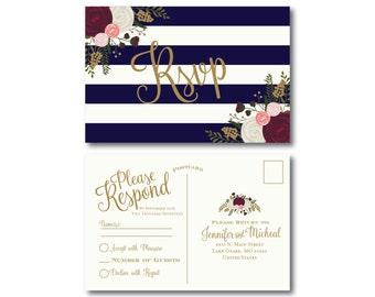 Vintage Wedding RSVP Postcard, Fall Wedding, Vintage Floral, Floral Wedding, Vintage Wedding, RSVP Postcard, Wedding Postcard, RSVP #CL159