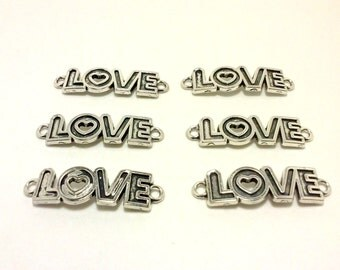 SHOP CLOSING SALE Love Charm, Heart Charm, Connector Charm, Bracelet Charm