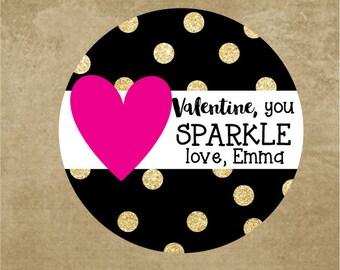 Glitter Heart Valentine Stickers, Personalized Gold Glitter, Kids Classroom Valentine Favor Stickers, Black & gold polkadot, Girl Valentine
