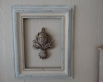 Vintage Wood Frame, distressed, with Pearls, Shabby Chic, Wedding Decor
