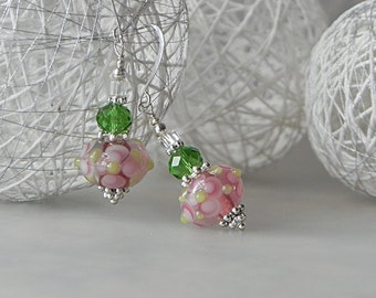 Green Pink Earrings Floral Earrings Dangle Earrings Lampwork Earrings Beadwork Earrings Pink Flower Earrings Pink Glass Earrings Handmade
