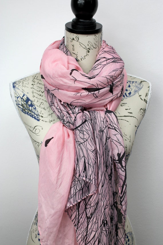 Birds Scarf Animal Print Scarf Gift for Her Womens Fashion Scarf Unique Fabric Scarf Spring Celebrations Birthday Gift for Mom Pastel Floral