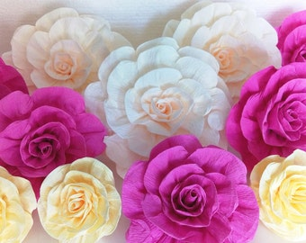 12 Large giant paper flowers baby kate shower bridal spade Backdrop Wall arch Paper wedding backdrop sweet 16 birthday party Nursery fiesta