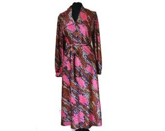 Brown and Pink Vintage Dress // 1970s Midi Dress // Medium size