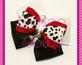 Handmade Cruella De Vil 101 Dalmatians Inspired Hair Bow