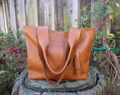 Large tan leather shoulder handbag, large tote, large leather bag, Christmas, holiday gift