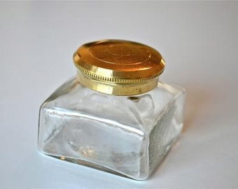 Antique replica glass & brass screw top inkwell writing box slope replacement writing slope box ST