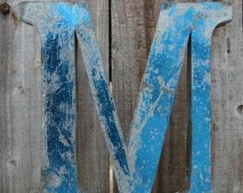 Medium vintage style 3D blue letter M