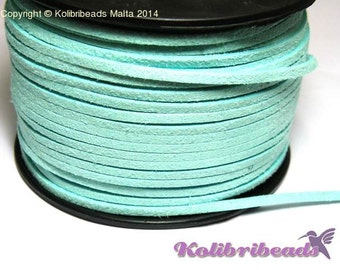 1x 3m Flat Faux Suede Cord 3mm - Turquoise