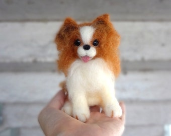 MADE TO ORDER - Needle Felted Sculptures - Papillon Dog - Continental Toy Spaniel - Miniature Wool Felt Puppy Dog