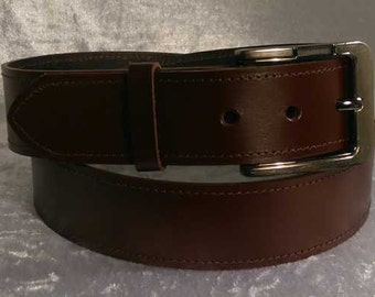 Brown leather belt with 40mm bronzed coloured nickel buckle Made to Order