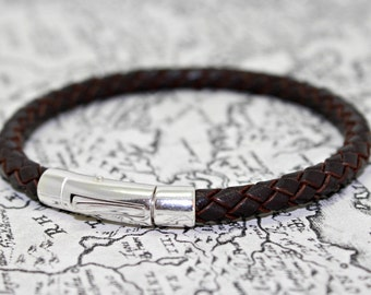 Mens Braided leather Bracelet with Sterling Silver Clasp / Closure - Brown