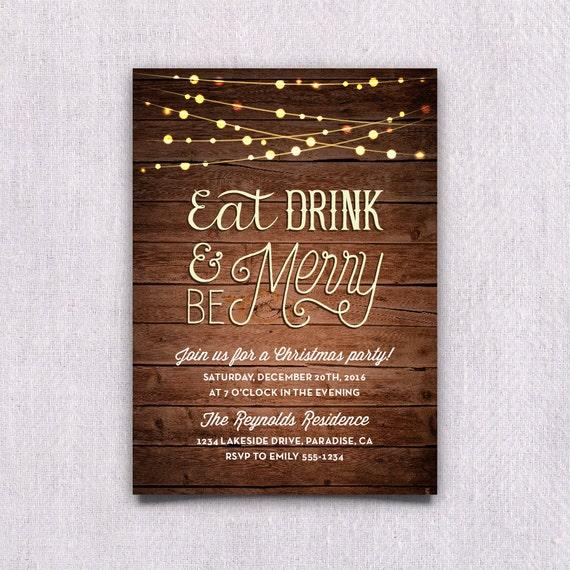 Items Similar To Printable Christmas Party Invitation