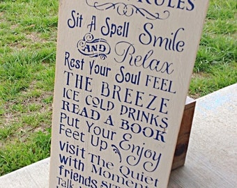 Porch rules sign, wood porch sign, porch signs, rustic porch sign, porch decor, porch sign, wooden signs, home signs, porch decor