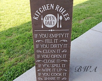 Kitchen Rules Sign Kitchen Signs Kitchen Sign Kitchen Decor Rustic Kitchen Sign