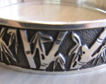 Sterling Silver Bangle Bracelet From Hawaii  Bamboo Design