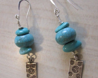 Turquoise, Glass and Sterling Silver Dangle Wire Earrings