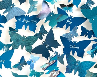Personalisable butterfly wall art sapphire and turquoise blue - 3D small picture