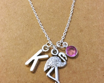 Flamingo Initial Charm Necklace