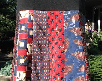 NEW - Silk Necktie Skirt - Silk Skirt - OOAK Silk Necktie Skirt - Repurposed Silk Necktie Skirt