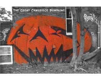 Great Cambridge Pumpkin card, Halloween greeting card, graffiti halloween, Porter Square, graffiti pumpkin, giant pumpkin, urban halloween
