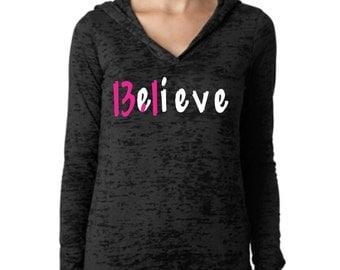 13.1 Believe Burnout Hoodie.Marathon.Womens Workout hoodie. Fitness hoodie.Womens Burnout hoodie.Running hoodie Half marathon