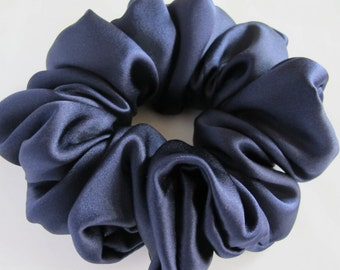 Free shipping silk hair scrunchie. Hypoallergenic hair accessories. Navy silk hair scrunchie. Navy scrunchie. Navy hair scrunchie. Navy silk
