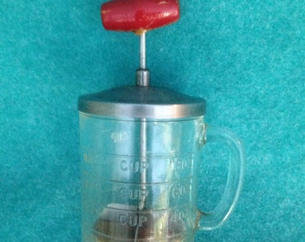 Hazel Atlas Glass Handled Measuring Cup Food or Nut Chopper With Androck Stainless Lid