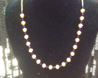 Gold and purple beads