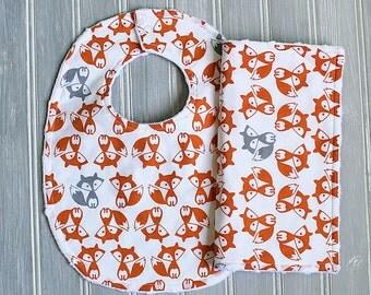 Fox Baby Bib and Burp Cloth Set - Boy or Girl Gender Neutral Bib and Burp Cloth - Orange and Gray Fox Minky Bib and Burp Cloth Set