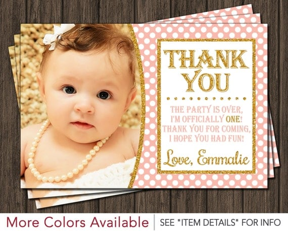 First birthday thank you card peach pink and gold by puggy prints il570xn bookmarktalkfo Image collections