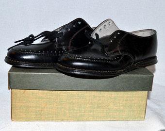 Vintage Poll Parrot Children's Shoes - Black Oxfords, 1940s or 1950s, NIB!