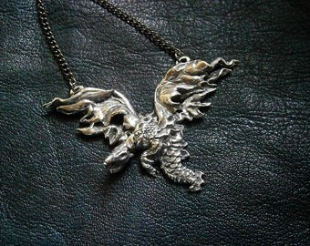 Dragon Pendant Necklace, Fire Dragon, Wyvern, Pewter (Short-Tailed)