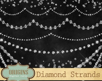 Diamond Clipart, Diamond Strands, Diamond Necklace Clip Art, rhinestones, digital sparkle glitter bling confetti overlays, gem jewel clipart